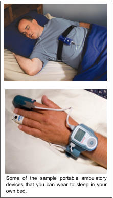 Some of the sample portable ambulatory devices that you can wear to sleep in your own bed.